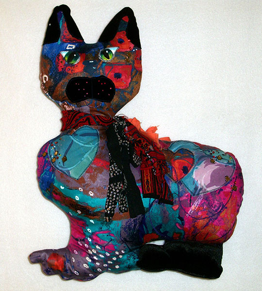 Cat - Red Print - Dolls by Shirley Nachtrieb