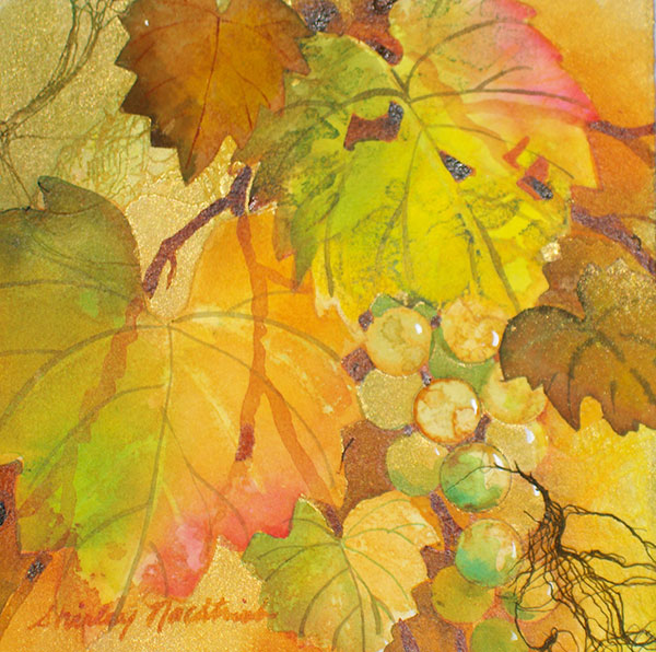 Grapevine Window #16 - Collage by Shirley Nachtrieb