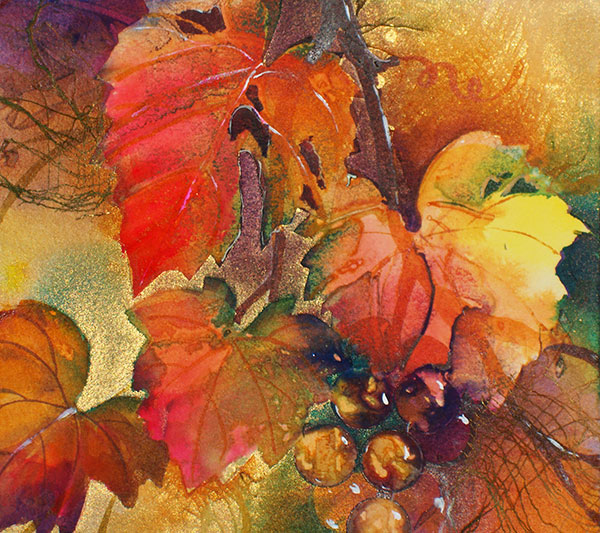 Grapevine Window #17 - Collage by Shirley Nachtrieb