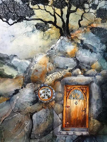 Hobbit's Hole - Collage by Shirley Nachtrieb