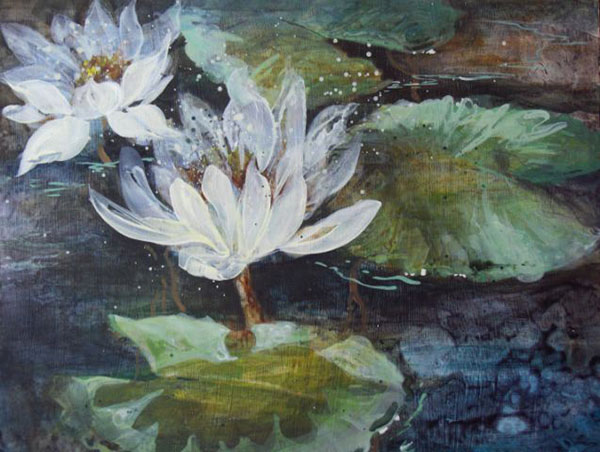 Lily Green acrylic painting by Shirley Nachtrieb