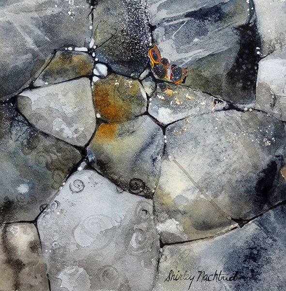 Stones #5 - Collage by Shirley Nachtrieb