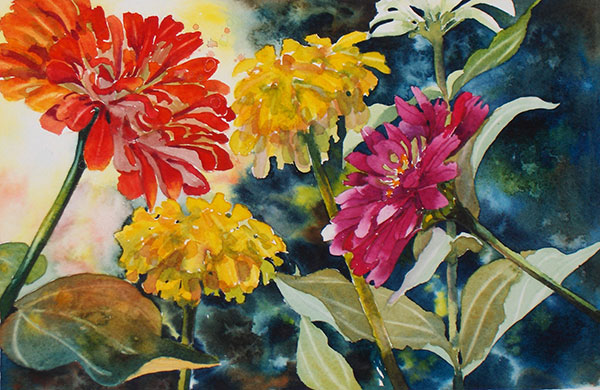 Zinnias - Watercolor by Shirley Nachtrieb